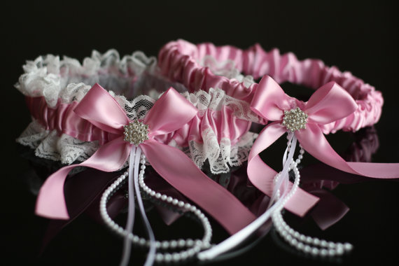 Wedding - Dusty Rose Bridal Garter Set  Ivory Lace Wedding Garter Set  Pink Toss Garter and Keepsake Garter  Lace Bridal Garters  Pink Prom Garter