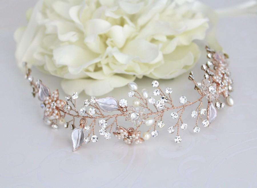 Rose Gold Hair Vine Rose Gold Wedding Headpiece Wedding Hair