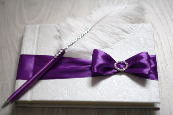 Purple Wedding Guest Book With Pen Custom Made In Violet Color Handmade Bow Ostrich Feather Ribbon