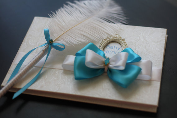 turquoise and white baby shower memory book and ostrich feather pen itu0027s a boy guest sign in book blue guest book baby shower gift