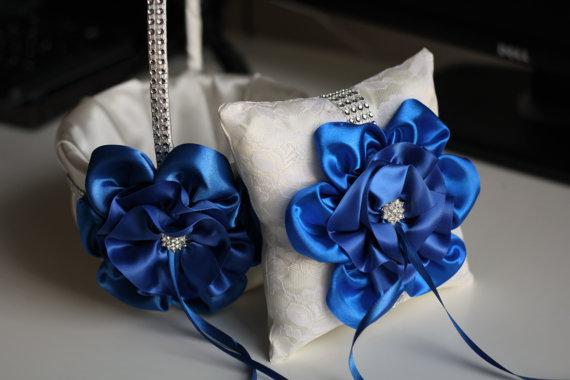 Wedding - Cobalt Blue Flower Girl Basket and Ring Holder  Ivory and Blue Wedding Basket and Ivory Lace Pillow   Royal Blue Flower  Pillow Basket Set