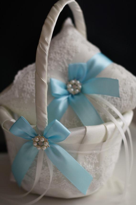 sky blue wedding pillow basket set light blue flower girl basket and ring bearer pillow ivory. Black Bedroom Furniture Sets. Home Design Ideas