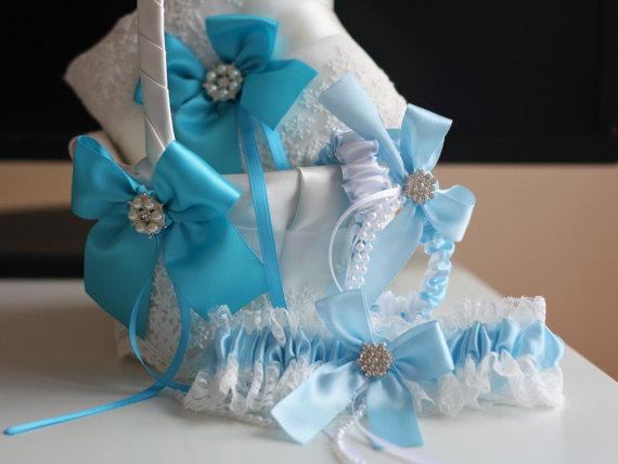 Hochzeit - Turquoise Wedding Ring Pillow   Flower Girl Basket   2 Bridal Garters Set  Sky Blue Ring Bearer   Wedding Basket Set   Blue Wedding Garters