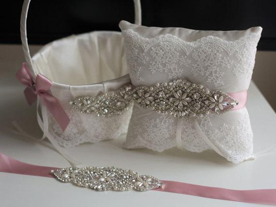 Mariage - Flower girl basket and ring bearer pillow set Blush pink  Wedding basket and wedding pillow set with rhinestones   wedding Bridal sash belt