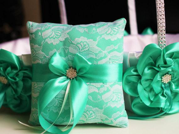 Mariage - Mint Wedding Pillow Basket Set  White and Mint Lace Ring Pillow   Flower Girl Basket Set  Rhinestone Wedding Basket   Ring bearer Pillow
