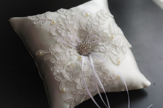 Wedding - Ivory White Satin Ring Bearer Lace Applique  Cream Marriage Ring Holder  Bridal Accessories  Pearl Pillow  Wedding Ceremony Accessory