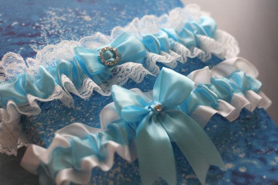 Wedding - Sky Blue Wedding Bridal Garters Set  Lace Wedding Garter Belt  Lace Bridal Accessories  Bridal Keepsake Garter  Something Blue New