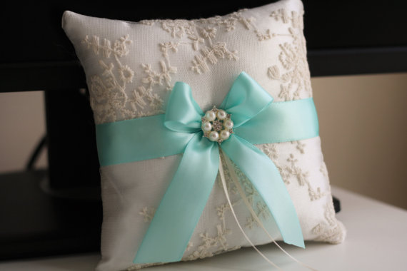 Flower Girl Baskets And Matching Ring Bearer Pillows : Aqua and ivory ring bearer wedding basket set