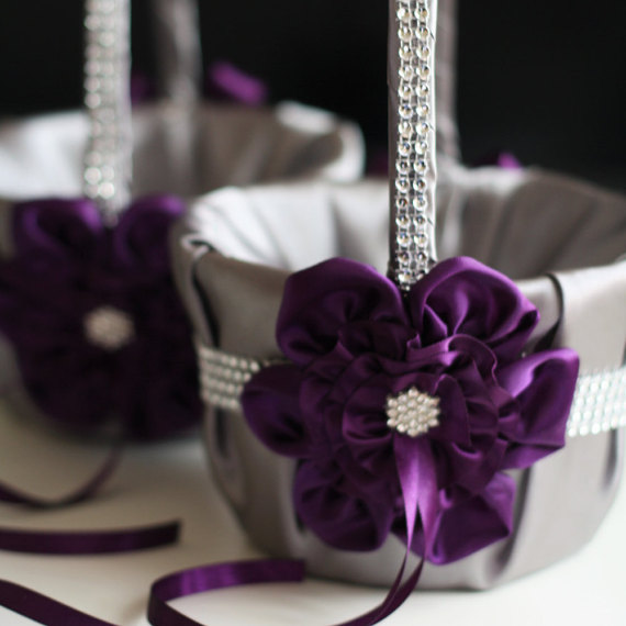 Hochzeit - Gray and Plum Wedding Flower Girl Baskets  Egg Plant and Gray Flower Baskets  Ceremony Petals Basket with brooch and Rhinestones Trim