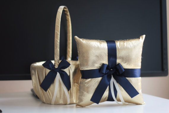 Wedding - Gold Navy Flower Girl Basket and Ring Bearer Pillow Set  Gold Navy Wedding Basket  Navy Gold Wedding Ring Holder