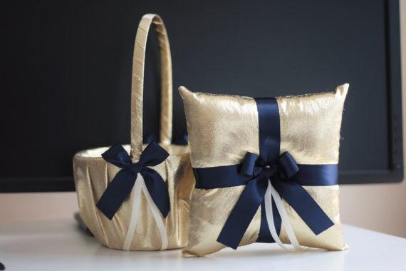 Wedding - Gold Navy Flower Girl Basket and Ring Bearer Pillow Set  Gold Navy Wedding Basket  Navy Gold Wedding Ring Holder
