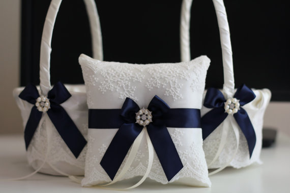 Hochzeit - Navy Blue 2 Flower Girl Baskets   1 Ring Bearer Pillow  Navy Wedding Baskets and ring Pillows with Lace and Brooch  Lace Petals Baskets