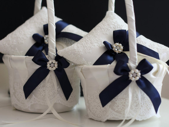 Hochzeit - Navy Blue 2 Wedding Pillows   2 Baskets Set  Navy Ivory Lace Wedding Bearer Pillow   Flower girl Basket Set  ring holder   Petals basket