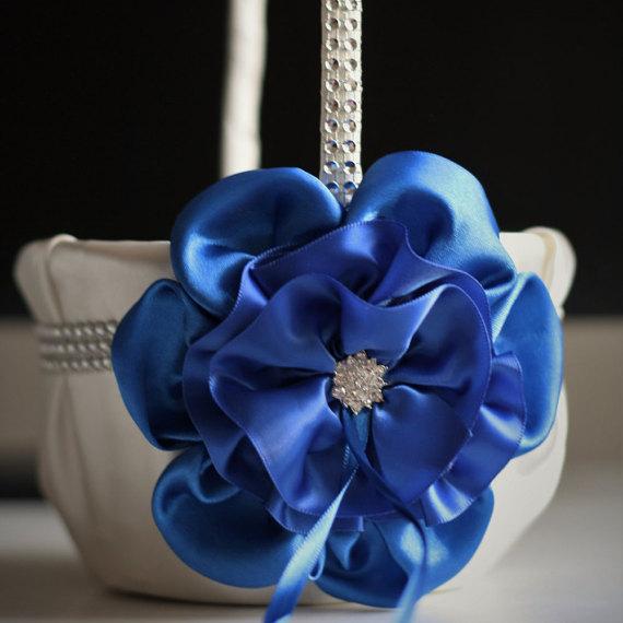 Wedding - Royal Blue Flower Girl Basket  Ivory Satin Basket with Cobalt Blue Flower and Rhinestones / Cobalt Blue Wedding Ceremony Basket