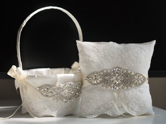 Mariage - Ivory Flower girl basket and ring bearer pillow set  Wedding basket and wedding pillow set with rhinestones applique   wedding sash belt