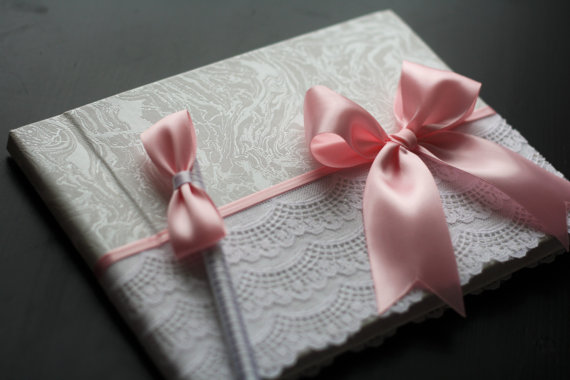 Wedding - Pink Baby Shower Sign in Book with Lace and pink bow   Pen  It's a Girl Memory Book  Baby Shower Guest Book  Empty Blank Paper Book