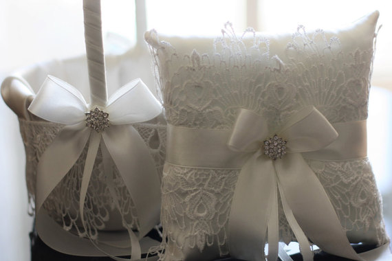 Hochzeit - Off-White Wedding Set  White Lace Ring Bearer Pillow and Off White Satin Lace Flower Girl Basket with Brooch  Wedding Ceremony Accessories