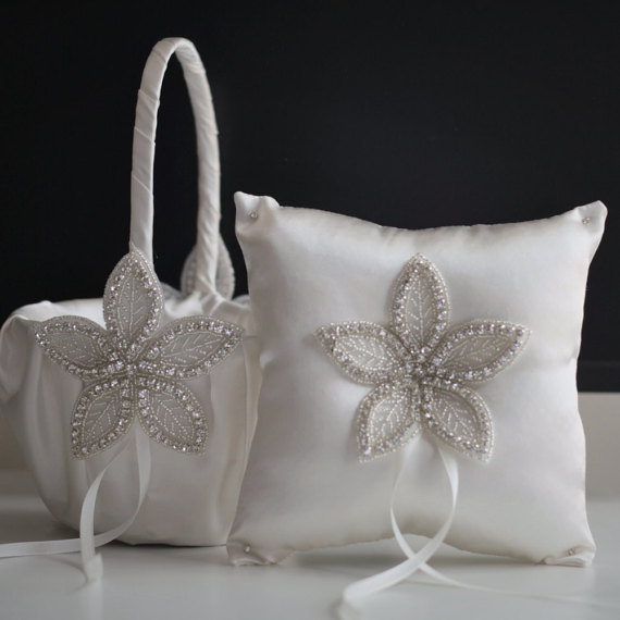 Mariage - Off white wedding flower girl basket and ring bearer pillow set  wedding pillow with rhinestones applique, wedding baskets with rhinestones