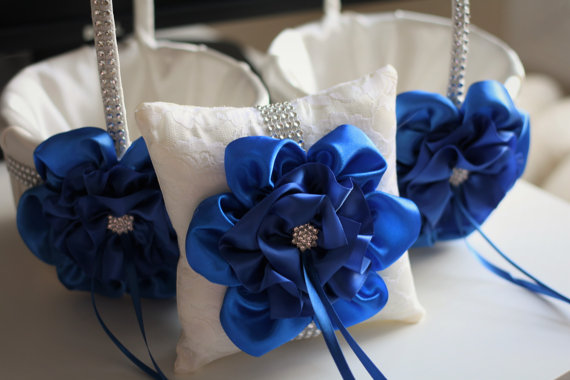 Hochzeit - 2 Wedding Baskets and Ring Pillow  Blue Wedding Accessories Set  Basket Pillow Set  Cobalt Royal Blue Flower Girl Basket Bearer Pillow
