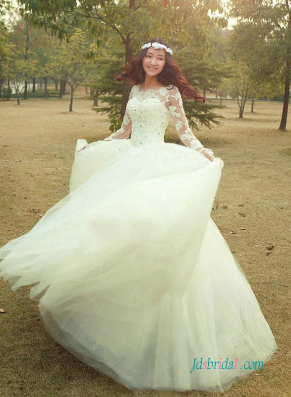 Hochzeit - Dreamy beaded lace appliqued illusion lace long sleeved princess wedding dress