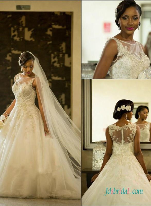 Wedding - Beautiful sheer bateau neck princess ball gown wedding dress
