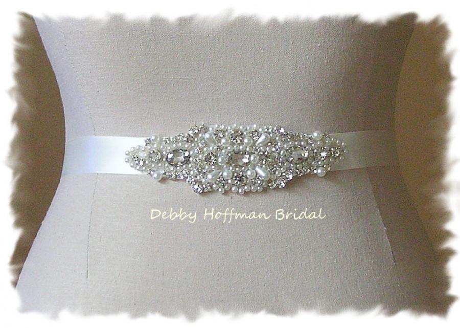 Mariage - Pearl Bridal Sash, Rhinestone Crystal Pearl Bridal Belt, Jeweled Pearl Wedding Belt, Pearl Crystal Bridesmaid Sash, Wedding Sash, No. 4040S