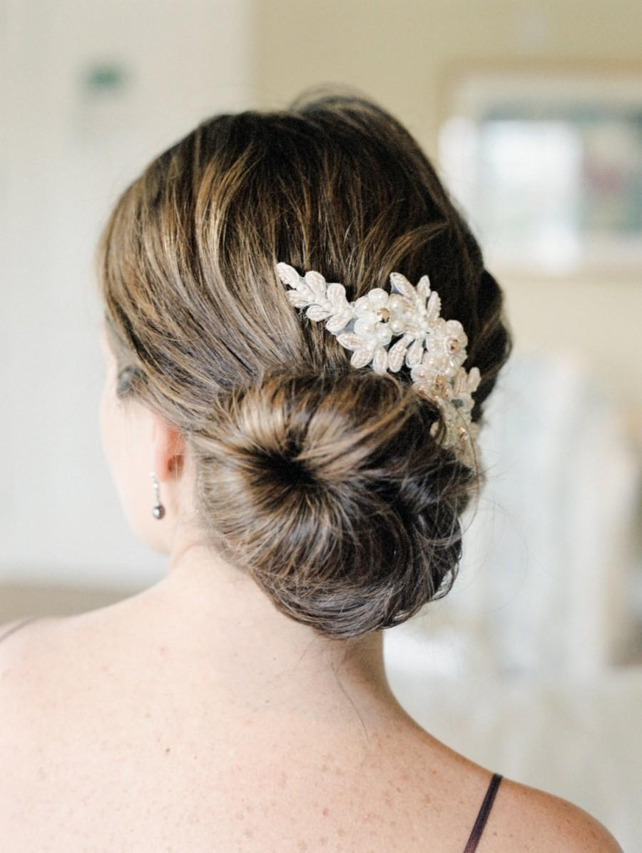 Hochzeit - Blush Bridal Hair Comb. Blush Lace Hair Comb. Bridal Lace Headpiece {Alyona}