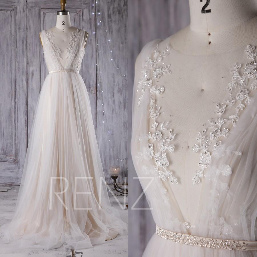 Свадьба - 2016 Off White Mesh Bridesmaid Dress with Lace, Champagne A Line Wedding Dress, Backless Puffy Dress, Long Evening Gown Floor Length (LW192)