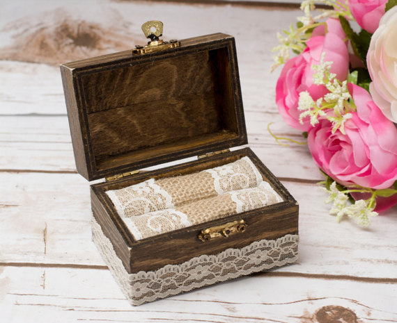 Wedding - Wedding Ring Box Personalized Rustic Ring Holder Ring Bearer