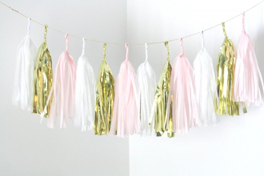 Gold Blush Pink White Tassel Garland Nursery Decor