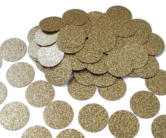 "Mariage - 50 Glittered Gold Confetti Circles, 1"" Glitter Gold Confetti Circles, Gold Coins, Party Decorations - No497"