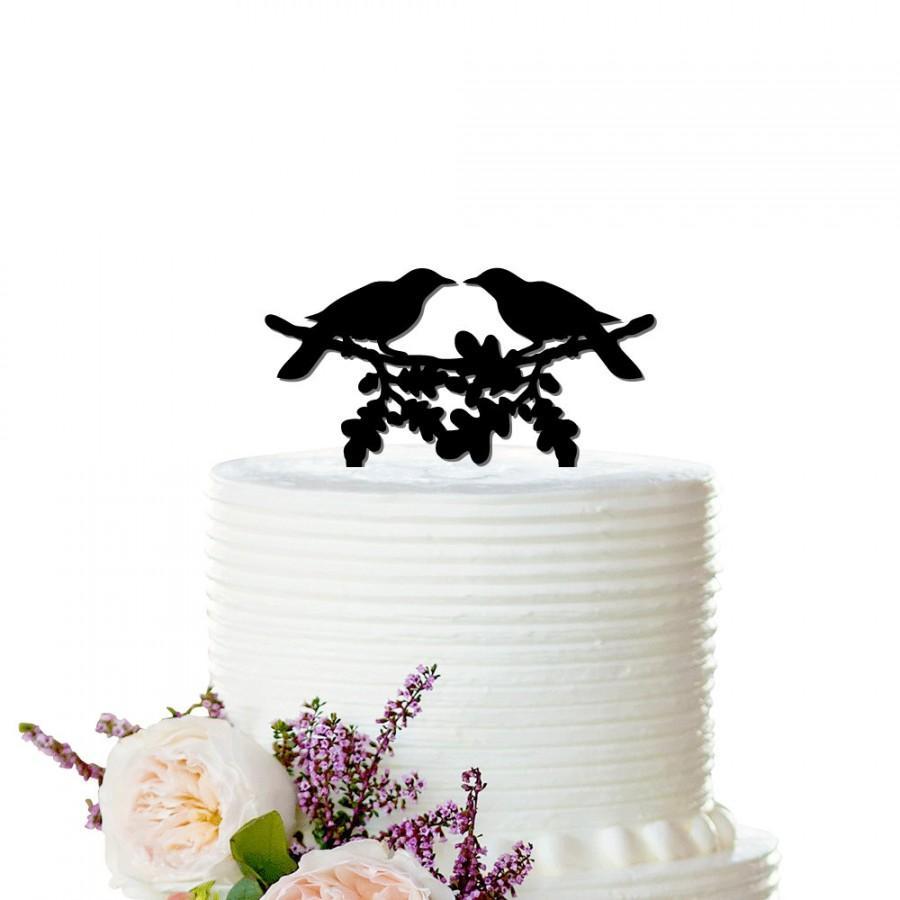 Hochzeit - Wedding Cake Topper - Love bird cake topper - Ravens - Bridal Bachelorette Cake Topper, Birthday, Wedding Cake Topper - Peachwik - CT0001