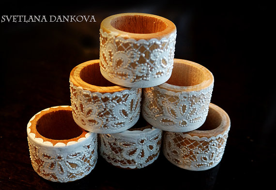 Wedding - Napkin Rings Distressed Wedding Décor Set of 6