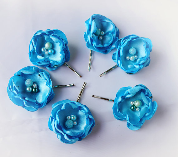 Hochzeit - Wedding Hair Pin Fabric Flower Bridal Accessories Blue Mint Set of 6
