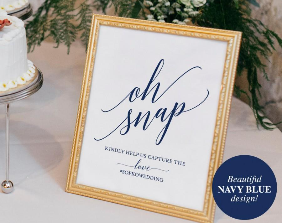 Mariage - Navy Wedding Hashtag Sign, Oh Snap Wedding Sign, Instagram Sign, Share the Love, Wedding Printable, PDF Instant Download