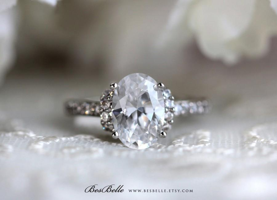 Mariage - 3.27 ct.tw Art Deco Ring-Art Deco Engagement Ring-Oval Cut Diamond Simulant-Bridal Ring-Promise Ring-Solid Sterling Silver [4519]