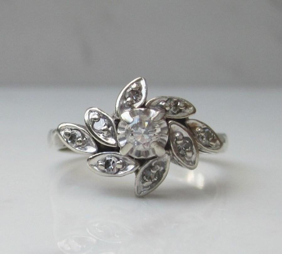 Mariage - Midcentury Diamond Cluster Halo Ring in 14k Solid White Gold, Size 6