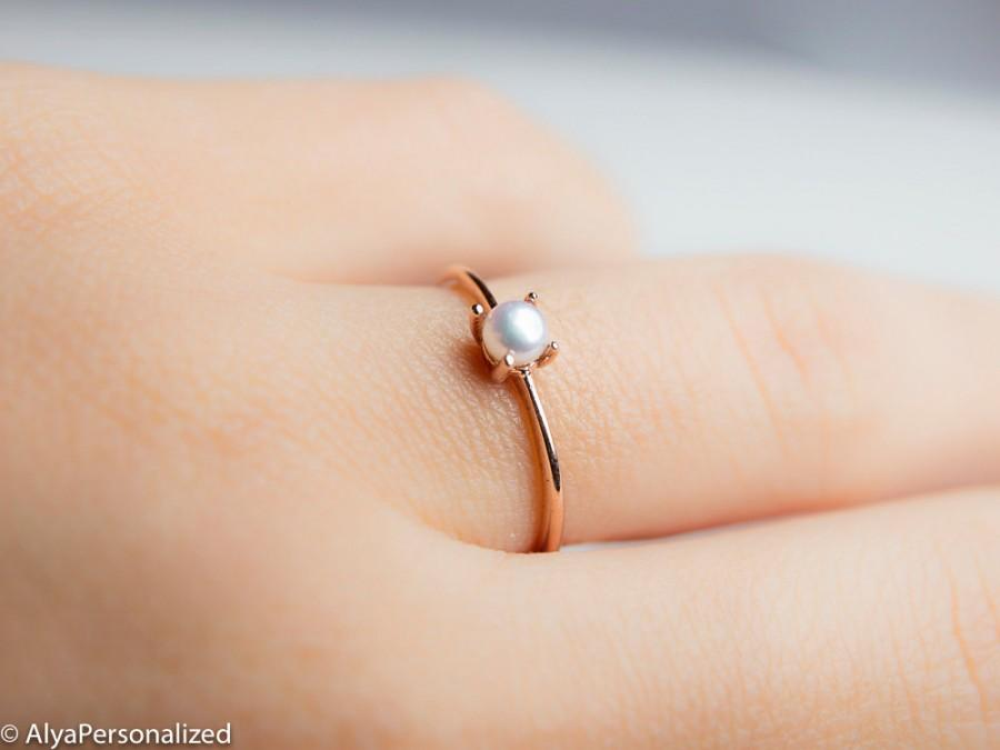 Mariage - Simple Pearl Ring - 14K Gold Ring - Simple Engagement Ring - Single Pearl - Dainty Gold Ring - Thin Rose Gold Ring -
