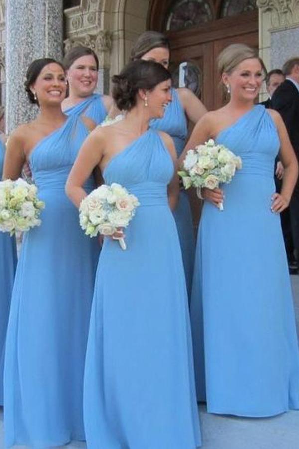 Mariage - Simple One Shoulder Floor Length Sky Blue Bridesmaid Dress