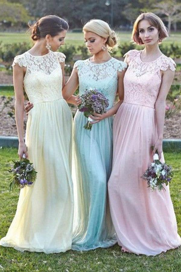 Mariage - Eleghant Scoop A-line Floor Length Lace Bridesmaid Dress