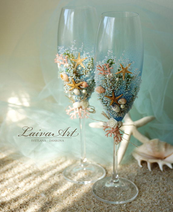 Mariage - Beach Wedding Champagne Flutes Wedding Champagne Glasses Wedding Toasting Flutes