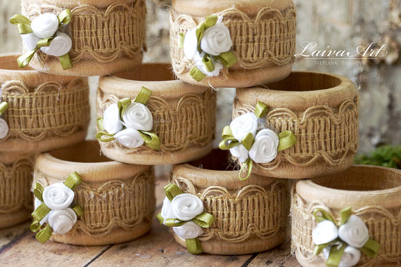Mariage - Burlap Wedding Napkin Rings Rustic Wedding Napkin Holders, Wooden Napkin Rings Wedding Table Décor Set of 4