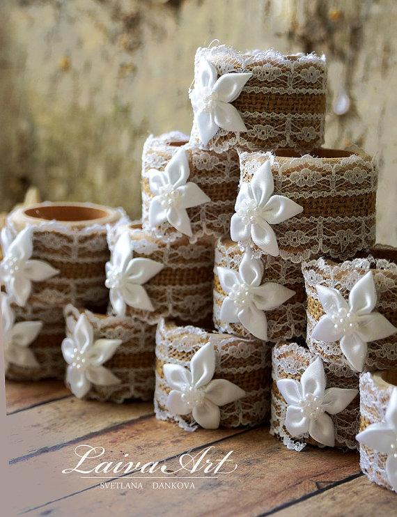 Mariage - Burlap Wedding Napkin Rings Wedding Table Décor Rustic Wedding Napkin Holders Wooden Napkin Rings