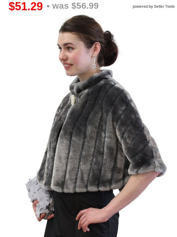 Mariage - Holiday Sale Bridal Wrap, Bridal Fur Capelet, Gray Faux Fur Mink Cape, bridal shrug, bridal stole, wedding fur cape