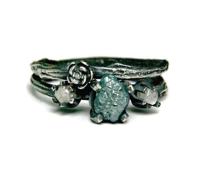 Wedding - Three Stone Rough Diamond Twig Ring, Antiqued Sterling Silver Blue Diamond Ring, Unique Wedding Set, Botanical Jewelry