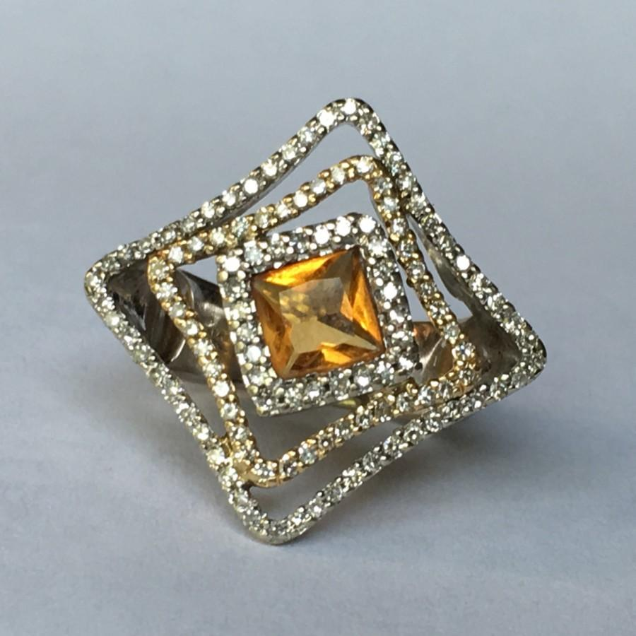 Vintage Citrine Ring Diamond Halos 14K White Gold Estate Jewelry