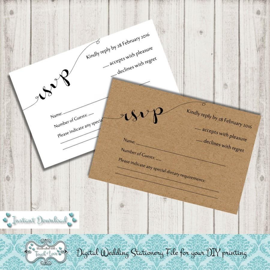 digital diy editable wedding rsvp printable template microsoft