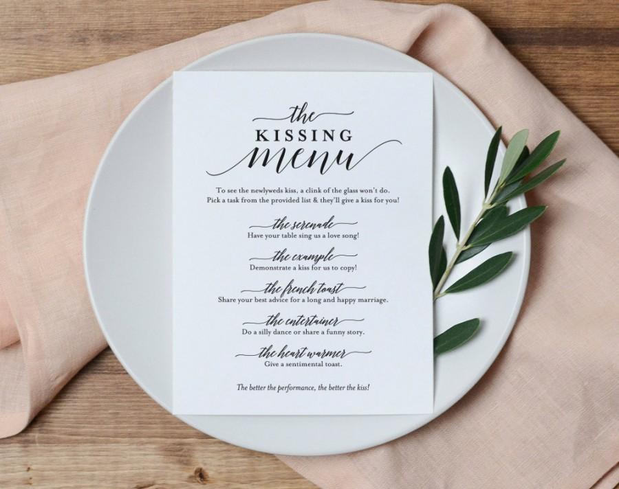 Hochzeit - Kissing Menu, Wedding Kissing Menu, Kissing Menu Printable, Wedding Reception Sign, Wedding Game, Template, PDF Instant Download