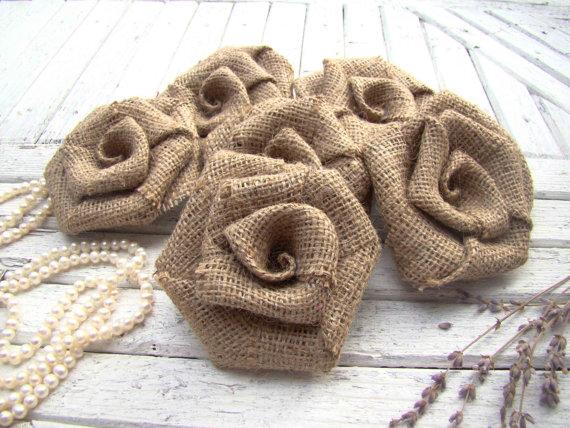 Set Of 6 Burlap Roses Rustic Wedding Decor Hessian Fabric Rosettes