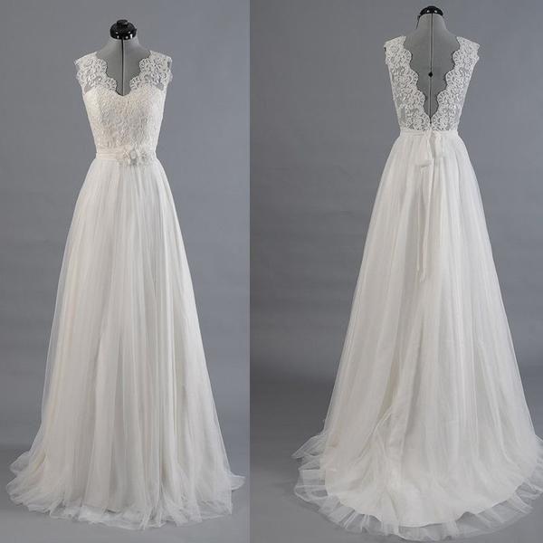 Hochzeit - Best Sale Vantage V-Back Lace Top Simple Design Wedding Party Dresses, WD0036